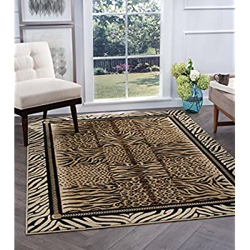 Savannah Contemporary Animal Beige Round Area Rug, 5 Round