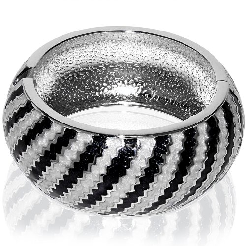 Hinged Bangle Bracelet-Black and White Spiral Tube Design