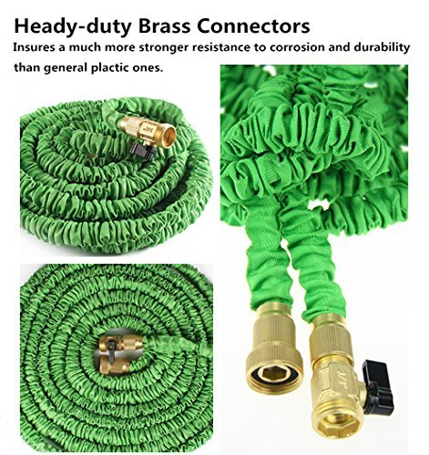 Ohuhu 100 feet garden hose expandable hose with brass connectors and sprayer hardware hardware Expandable garden hose 100 ft