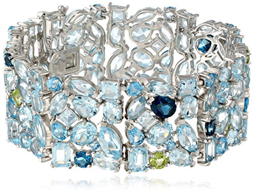 Kenneth Jay Lane Fine Jewelry Sterling Silver, Blue and White Topaz, and Peridot Bracelet