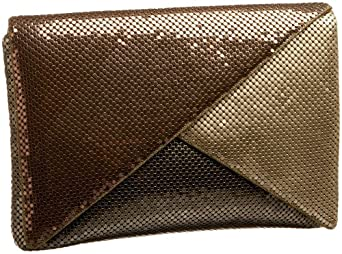 Whiting & Davis Retro Multi Compartment Clutch,Gold Multi,one size