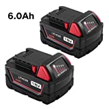 6.0Ah Replacement for Milwaukee 18V Battery XC Lithium ion Extended Capacity 48-11-1852 48-11-1828 48-11-1815 6000mAh Battery (2Packs) (Color: Black with Red, Tamaño: Medium)