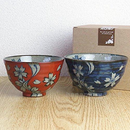 波佐見焼 翔芳窯 茶碗 流水桜 大小 ペア セット ギフトBOX付(夫婦碗 茶わん 飯碗)