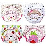 3層と少年少女の幼児の子供のための4枚の赤ちゃんのトイレトイレトレーニングパンツ (XL/100, 女の子)