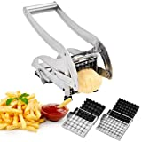 French Fry Potato Cutter, CUGLB Stainless Steel with 2 Interchangeable Blades and Non-Slip Suction Pad Potato Chipper Cutter (Color: Silver, Tamaño: 10.4