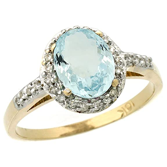 9ct Yellow Gold Diamond Natural Aquamarine Ring Oval 8x6mm, sizes J - T