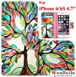 """For iPhone 6 6S 4.7"""" Wallet Case,WenBelle [Colorful Series] book Fold, Stand Feature, Leather Iphone 6/6s 4.7 inch Cover Flip Cover with Foldable Stand, Pockets for Id and Credit Cards, Flip Case for Apple iPhone 6 6s 4.7 Inch-Love tree"""