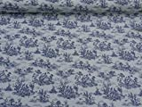 French Navy Blue French Toile de Jouy 100 Cotton Designer Upholstery Curtain Shabby Chic Fabric Sold By The Metre