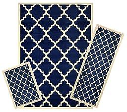 Modela Collection Area Rug Set. Area Rug, Runner, and Doormat Set (Trellis Navy Blue)