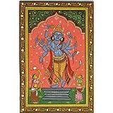 Composite Image Of Shri Rama, Krishna And Vishnu - Watercolor On Patti - Artist: Rabi Behera