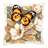 Vervaco Black and Orange Butterfly Cross Stitch Cushion Multi Colour