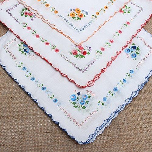 CANIS 12pcs/Set Lot Ladies Women Vintage Cotton Quadrate Hankies Floral Handkerchief 2