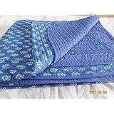 Handicraftofpinkcity Hand Block Print Cotton Baby Quilts Indigo Blue Color Soft Baby Sheet Cotton Baby Wrap Small...