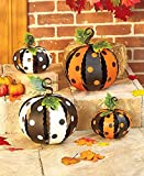 Set of 2 Small White Orange & Black Metal Polka Dot Pumpkins Halloween Fall Autumn Decor
