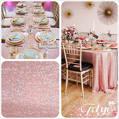 12''x108'' Blush Pink Sequin Table Runner, Sequin Table Cloth, Blush Pink Sequin Tablecloths, Sequin Linens (Table Runner Pink compare prices)