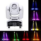 LED Moving Head Light,Spot Stage Lighting 8 Colors Lights 10W with 9/11 Channel for Party Disco DJ Show DMX-512. (White) (Color: White)