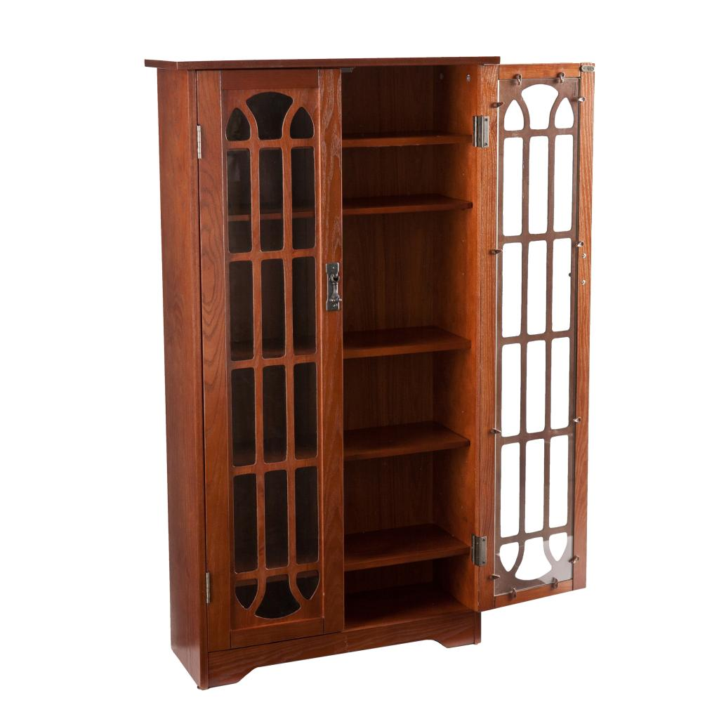 Media Furniture Cabinets: SEI Window Pane Wood Media Cabinet, Oak