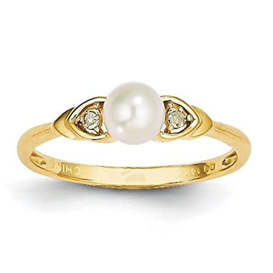 14ct Gold Rough Diamond and Fresh Water Cultured Pearl Ring
