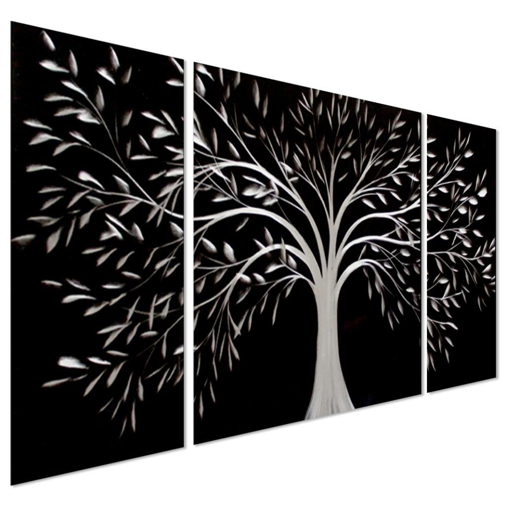 Tree of life metal wall art large decoration with branch for Black tree wall mural