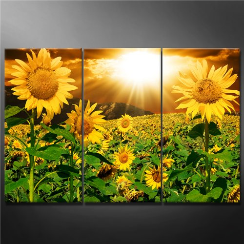Yellow Sun Wall Decor : Panel greeen wall art painting bright sunflower yellow