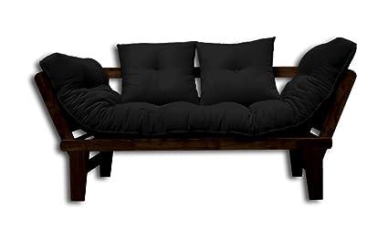 Canapé-lit Sésamo, Wenge, Futon Noir, 200x82x32 cm