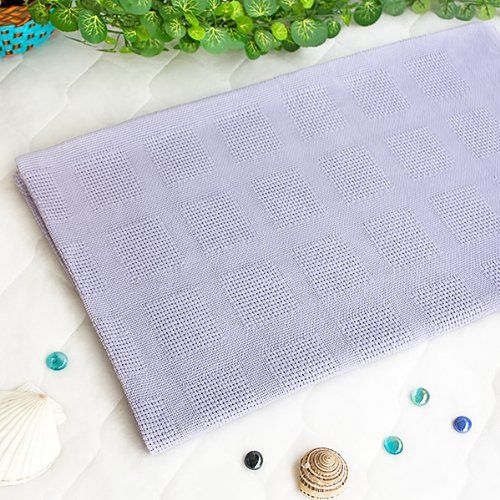 [Light Purple] 100% Cotton Jacquard Weave Throw Blanket (50 by 59.8 inches)
