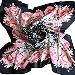 TANZKY® Women Elegant Head Scarves Large Square Scarf 100% Silk Shawl Black Pink
