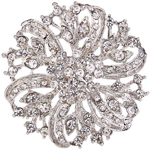 EVER FAITH® Vintage Inspired Bridal Silver-Tone Flower Brooch Corsage Austrian Crystal 0