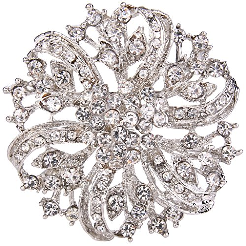 EVER FAITH® Vintage Inspired Bridal Silver-Tone Flower Brooch Corsage Austrian Crystal Clear (Crystal Brooch compare prices)