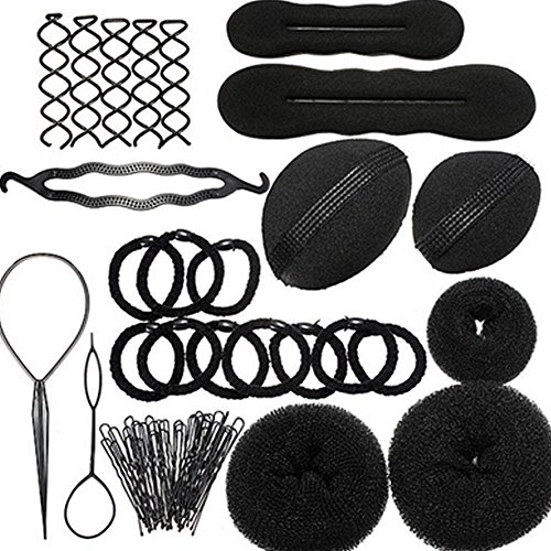 AENMIL 11 sets Plate Hair Suits, Donut Hair Comb / Braider, Hairdressing Supplies for Home or Salon use