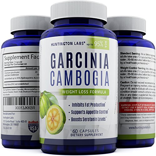 Pharmaceutical Grade 95% HCA Garcinia Cambogia Extract – Fat Burning Weight Loss Pill for Men and Women – Appetite Control and Immune System Support – Metabolism Booster – by Huntington Labs, 60 capsules