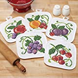 Herrschners Bright Fruit Pre-Quilted Pot Holders Stamped Cross-Stitch