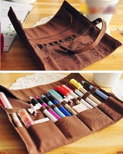 Urparcel Various color Cartoon Bear Canvas-capacity Roll up Pencil Case, Pencil Bag, Pen Pocket–pink /Blue/brown/green/black