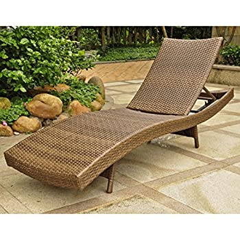 International Caravan Barcelona All Weather Wicker Chaise Lounge, Antique Brown