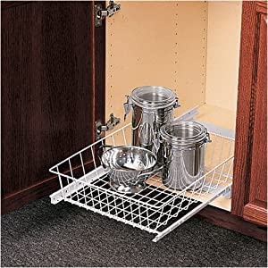 """Under Sink Pull Out Basket - Wire (White) (5""""h x 15""""w x 18 3/4""""d)"""