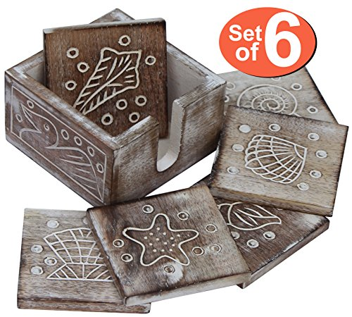 Exclusive Shabby Chic Drink Coasters - SouvNear Wooden Drink Coasters - Brown 4.5 Inches Set of 6 Mango Wood Table Coaster - Wooden Square Beverage Coaster with Holder