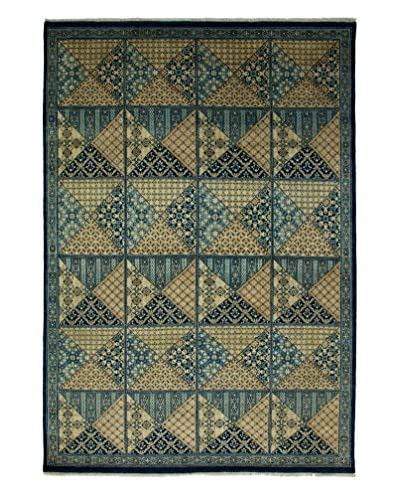 Darya Rugs Traditional Oriental Rug, Navy, 5′ 10″ x 8′ 6″