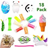 Volscity Bundle Sensory Fidget Toys Set-Squishies Unicorn/Ice Cream/Soft Egg Slime/Flippy Chain/Ultralight Clay/Mesh & Marble Toy/Soybeans Squeeze Gra