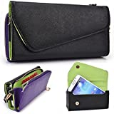 Black And Purple Crossbody Case For LG V10 5.7, LG G4 Pro, LG G Stylo, LG G Pro 2, Flex Smartphone Phablet