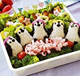 Rose Marry Rice Mold Onigiri Shaper and Dry Roasted Seaweed Cutter Set, Baby Penguin