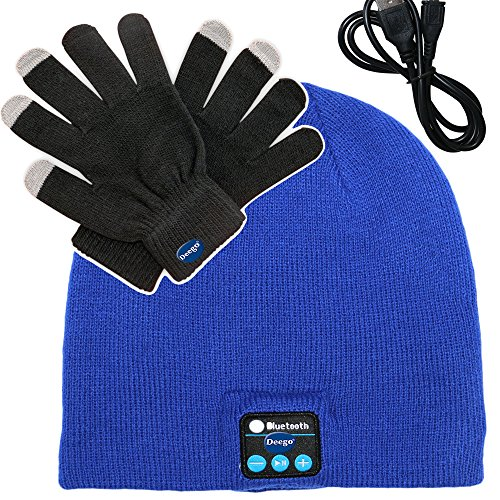 Deego HD Stereo Premium Sports Bluetooth Hat Wireless Smart Beanie Headset Musical Knit Hands-Free Headphone Speaker Hat Speaker phone Cap Microphone + Touch Screen Gloves (Blue Cap*1+Black Gloves*1)