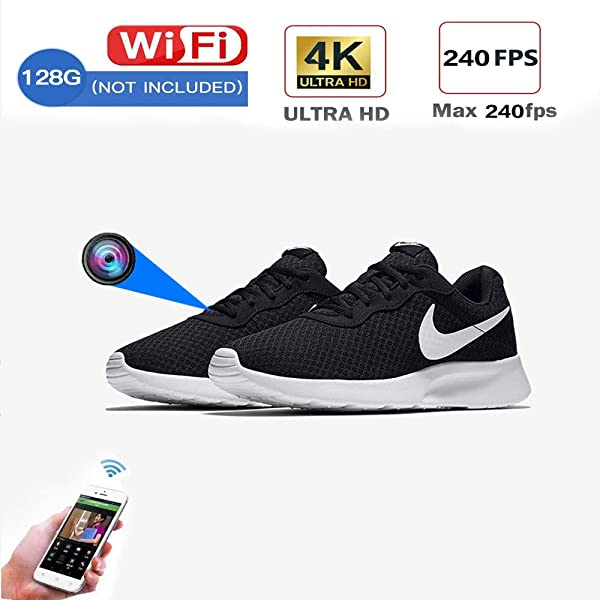 SHECAI Hidden Camera Sneakers WiFi spy Camera Security 4k spy cam Resolution (2880x2160) with 16GB Card