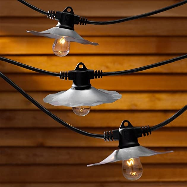 String Lights with Galvanized Shades and 7 Light Bulbs - 35FT Long 0841938047930 - Buy new and ...
