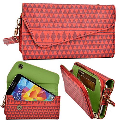 NuVur Women's Universal Aztec Print Wallet Clutch Wristlet [includes Shoulder chain strap] fits Samsung Galaxy S6 Edge, Gold Platinum, GT-i9260, GT-i9268 Galaxy Premier, Galaxy Pop|Red (Platinum Iphone 6 Case Red compare prices)