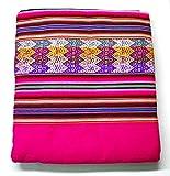 【アワヨ・アワイヨ布のアンデス織物】【Framboise(フランボワーズ・ラズベリー)】【大】南米ペルーのアンデス民族カラフル織物(線模様)のタペストリー布 -