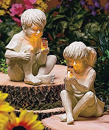 ... Statue Whimsical Flowerbed Yard Outdoor Sculpture Decor · E Ach Child  Holds A Clear Glass Jar With A