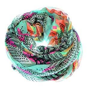 Vibrant Tribal Geometric Lightweight Infinity Loop Scarf (Mint Green)