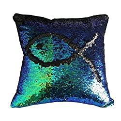 Reversible Sequins Mermaid Pillow Cases 4040cm with magic mermaid sequin (mermaid green and black)