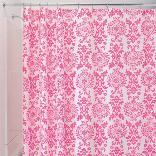 Interdesign Damask Fabric Shower Curtain 72 X 72 Hot Pink New Ebay