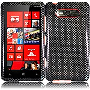 HR Wireless Nokia Lumia 820 Design Protective Cover - Retail Packaging - Carbon Fiber
